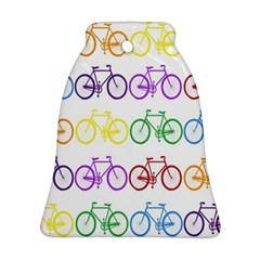 Rainbow Colors Bright Colorful Bicycles Wallpaper Background Ornament (bell) by Simbadda