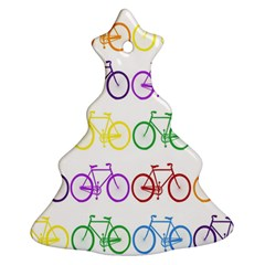 Rainbow Colors Bright Colorful Bicycles Wallpaper Background Christmas Tree Ornament (two Sides) by Simbadda