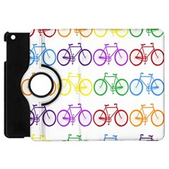 Rainbow Colors Bright Colorful Bicycles Wallpaper Background Apple Ipad Mini Flip 360 Case by Simbadda
