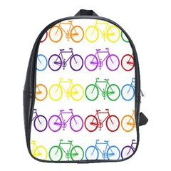 Rainbow Colors Bright Colorful Bicycles Wallpaper Background School Bags (xl)  by Simbadda