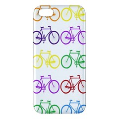 Rainbow Colors Bright Colorful Bicycles Wallpaper Background Apple Iphone 5 Premium Hardshell Case by Simbadda