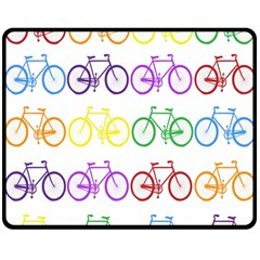 Rainbow Colors Bright Colorful Bicycles Wallpaper Background Double Sided Fleece Blanket (medium)  by Simbadda
