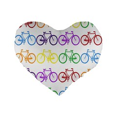 Rainbow Colors Bright Colorful Bicycles Wallpaper Background Standard 16  Premium Flano Heart Shape Cushions by Simbadda