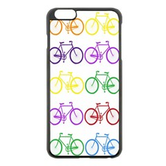 Rainbow Colors Bright Colorful Bicycles Wallpaper Background Apple Iphone 6 Plus/6s Plus Black Enamel Case by Simbadda