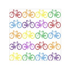 Rainbow Colors Bright Colorful Bicycles Wallpaper Background Small Satin Scarf (square) by Simbadda