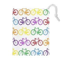 Rainbow Colors Bright Colorful Bicycles Wallpaper Background Drawstring Pouches (extra Large) by Simbadda