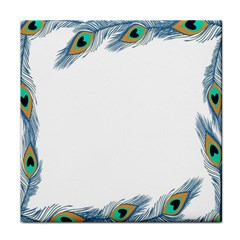 Beautiful Frame Made Up Of Blue Peacock Feathers Tile Coasters by Simbadda