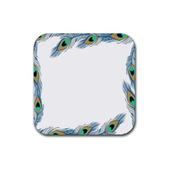 Beautiful Frame Made Up Of Blue Peacock Feathers Rubber Square Coaster (4 Pack)  by Simbadda