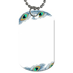 Beautiful Frame Made Up Of Blue Peacock Feathers Dog Tag (one Side) by Simbadda