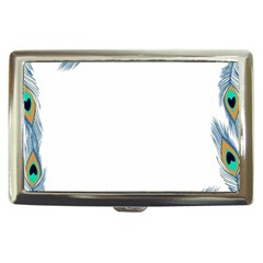 Beautiful Frame Made Up Of Blue Peacock Feathers Cigarette Money Cases by Simbadda