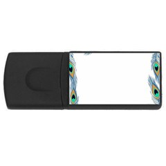Beautiful Frame Made Up Of Blue Peacock Feathers Usb Flash Drive Rectangular (4 Gb) by Simbadda