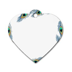 Beautiful Frame Made Up Of Blue Peacock Feathers Dog Tag Heart (two Sides) by Simbadda