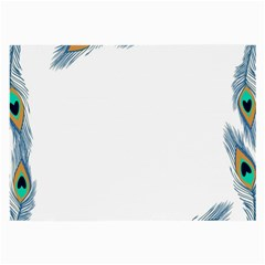 Beautiful Frame Made Up Of Blue Peacock Feathers Large Glasses Cloth