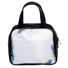 Beautiful Frame Made Up Of Blue Peacock Feathers Classic Handbags (2 Sides) by Simbadda