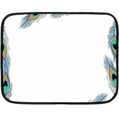 Beautiful Frame Made Up Of Blue Peacock Feathers Fleece Blanket (mini) by Simbadda