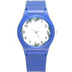 Beautiful Frame Made Up Of Blue Peacock Feathers Round Plastic Sport Watch (s) by Simbadda