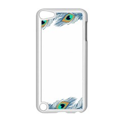 Beautiful Frame Made Up Of Blue Peacock Feathers Apple Ipod Touch 5 Case (white) by Simbadda