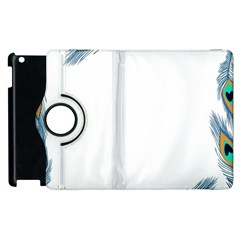 Beautiful Frame Made Up Of Blue Peacock Feathers Apple Ipad 2 Flip 360 Case by Simbadda