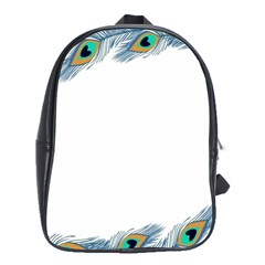 Beautiful Frame Made Up Of Blue Peacock Feathers School Bags (xl)  by Simbadda