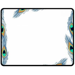 Beautiful Frame Made Up Of Blue Peacock Feathers Double Sided Fleece Blanket (medium)  by Simbadda