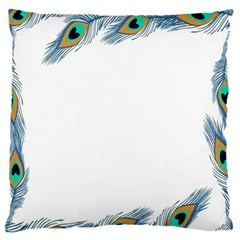 Beautiful Frame Made Up Of Blue Peacock Feathers Large Flano Cushion Case (Two Sides) by Simbadda