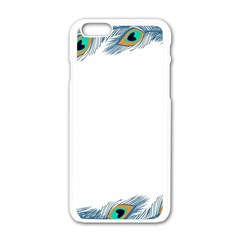 Beautiful Frame Made Up Of Blue Peacock Feathers Apple Iphone 6/6s White Enamel Case by Simbadda