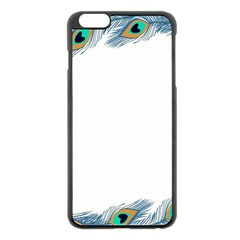 Beautiful Frame Made Up Of Blue Peacock Feathers Apple Iphone 6 Plus/6s Plus Black Enamel Case by Simbadda