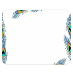 Beautiful Frame Made Up Of Blue Peacock Feathers Double Sided Flano Blanket (medium)  by Simbadda