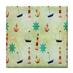 Vintage Seamless Nautical Wallpaper Pattern Tile Coasters by Simbadda