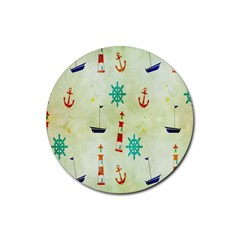 Vintage Seamless Nautical Wallpaper Pattern Rubber Coaster (round)  by Simbadda