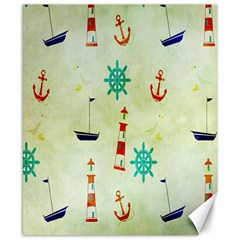 Vintage Seamless Nautical Wallpaper Pattern Canvas 8  X 10  by Simbadda