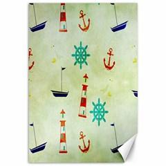 Vintage Seamless Nautical Wallpaper Pattern Canvas 12  X 18   by Simbadda