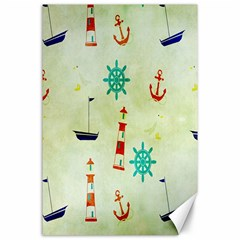 Vintage Seamless Nautical Wallpaper Pattern Canvas 24  X 36  by Simbadda