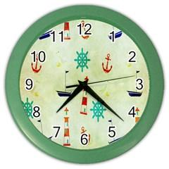 Vintage Seamless Nautical Wallpaper Pattern Color Wall Clocks by Simbadda
