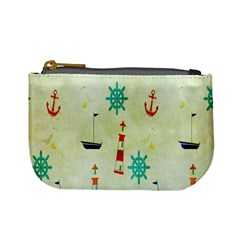 Vintage Seamless Nautical Wallpaper Pattern Mini Coin Purses by Simbadda
