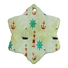 Vintage Seamless Nautical Wallpaper Pattern Ornament (snowflake) by Simbadda