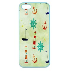 Vintage Seamless Nautical Wallpaper Pattern Apple Seamless Iphone 5 Case (color) by Simbadda