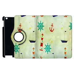Vintage Seamless Nautical Wallpaper Pattern Apple Ipad 3/4 Flip 360 Case by Simbadda