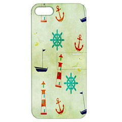 Vintage Seamless Nautical Wallpaper Pattern Apple Iphone 5 Hardshell Case With Stand by Simbadda