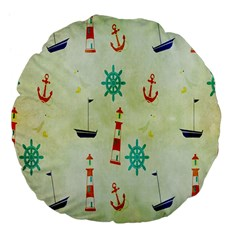 Vintage Seamless Nautical Wallpaper Pattern Large 18  Premium Flano Round Cushions by Simbadda