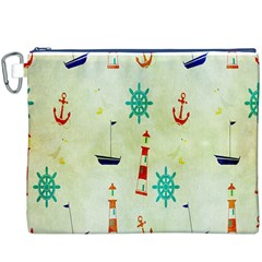 Vintage Seamless Nautical Wallpaper Pattern Canvas Cosmetic Bag (xxxl) by Simbadda