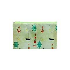 Vintage Seamless Nautical Wallpaper Pattern Cosmetic Bag (xs) by Simbadda