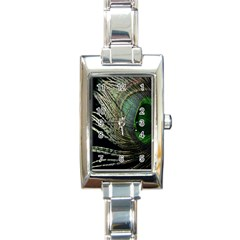 Feather Peacock Drops Green Rectangle Italian Charm Watch by Simbadda