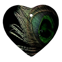 Feather Peacock Drops Green Ornament (heart) by Simbadda