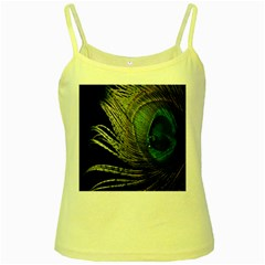 Feather Peacock Drops Green Yellow Spaghetti Tank by Simbadda