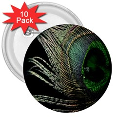 Feather Peacock Drops Green 3  Buttons (10 Pack)  by Simbadda