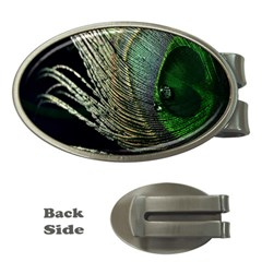Feather Peacock Drops Green Money Clips (oval)  by Simbadda