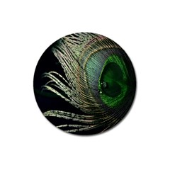 Feather Peacock Drops Green Magnet 3  (round) by Simbadda