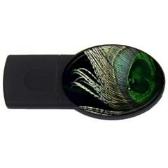 Feather Peacock Drops Green Usb Flash Drive Oval (4 Gb) by Simbadda