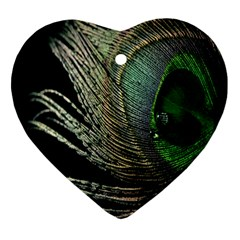 Feather Peacock Drops Green Heart Ornament (two Sides) by Simbadda
